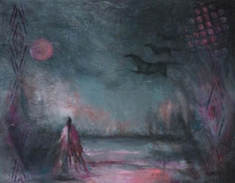 Horse art Native American wall decor rose moon woman horses night sky  Calling up the Moon
