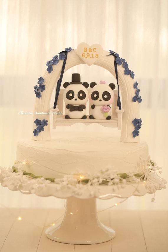 Panda Wedding Cake Topperk918   Etsy