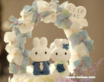 rabbit Wedding Cake Topper ,bunny wedding cake topper,Handmade lovely , cute rabbit and bunny