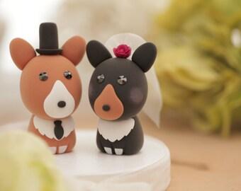 Pembroke Welsh Corgis wedding cake topper---k806