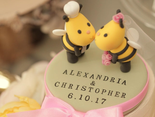 Kissing Bees wedding cake topper lady pug wedding cake | Etsy