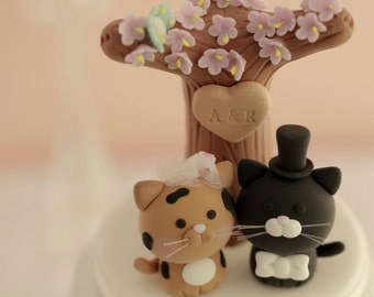 cat wedding cake topper, kitty Wedding Cake Topper,pets wedding cake topper---k868