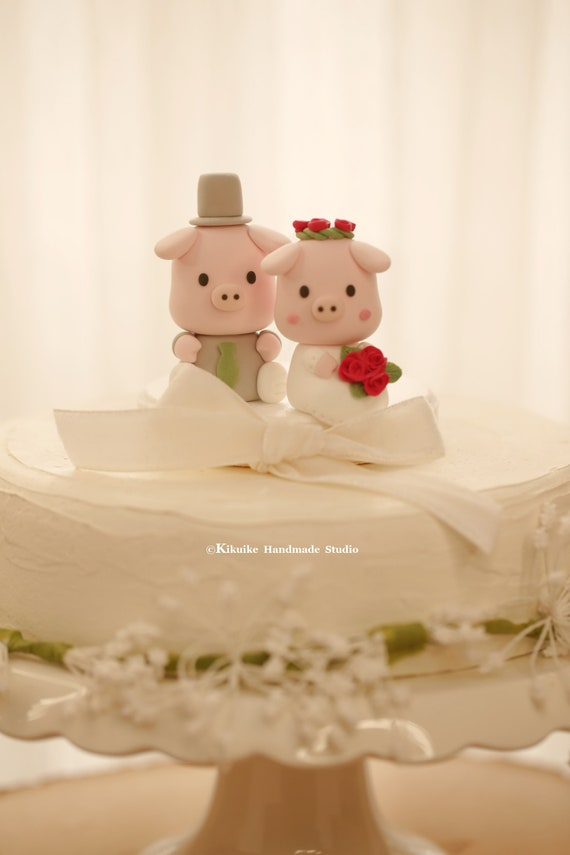 pigs wedding cake topperpiggy wedding cake topper piglet | Etsy