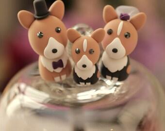 Pembroke Welsh Corgis wedding cake topper,Corgis wedding cake topper---k806