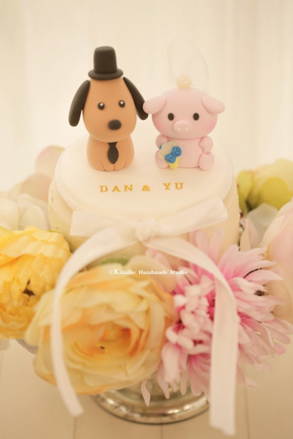 pig and dog Wedding Cake Topperk872 | Etsy
