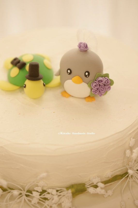 penguin and turtle cake topperpenguin wedding cake topper | Etsy
