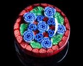 Artisan Blue Cabbage Rose...