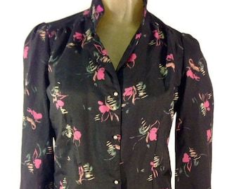 Vintage Blouse, Pearl Buttons Black Abstract Floral Pink Green Gold brush-stroke pattern. S M Secretary Business Attire High Collar 80s