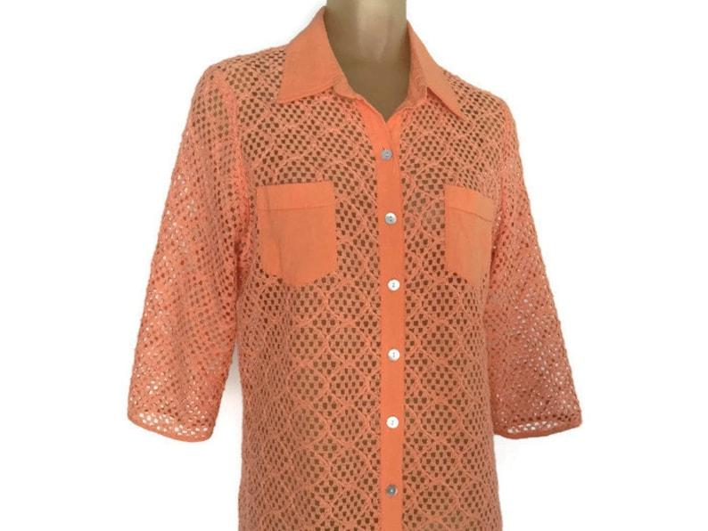 Orange Vintage Blouse Open Weave See Through Boho Vintage image 0