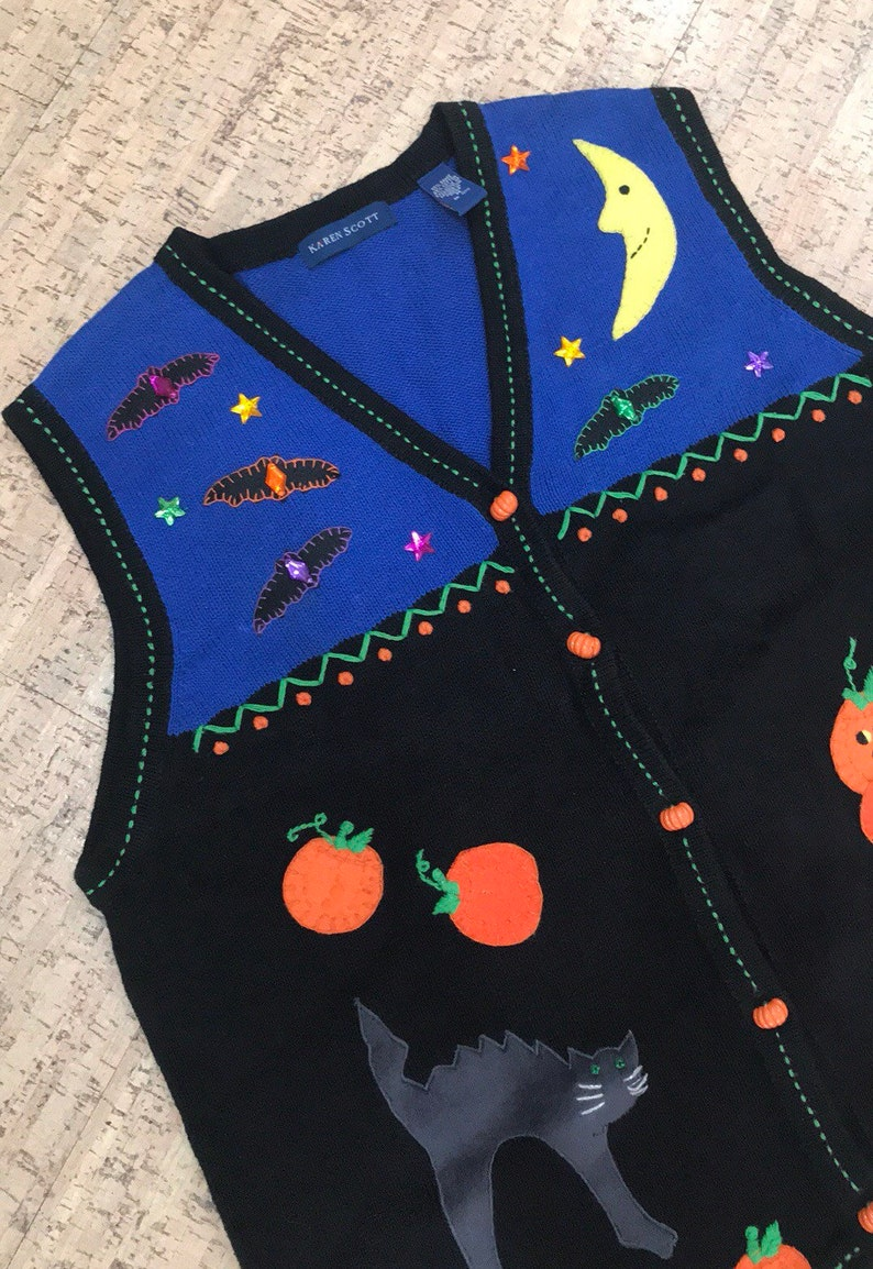 Vintage Halloween Sweater Vest Epic 80s sweater early 90s image 0