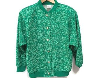 Retro Green Cardigan Vintage Sweater Jacket, Kelly Green Gold Swirls Vintage Sweatshirt 1960s Cardigan Retro School Jacket S M Brass Buttons