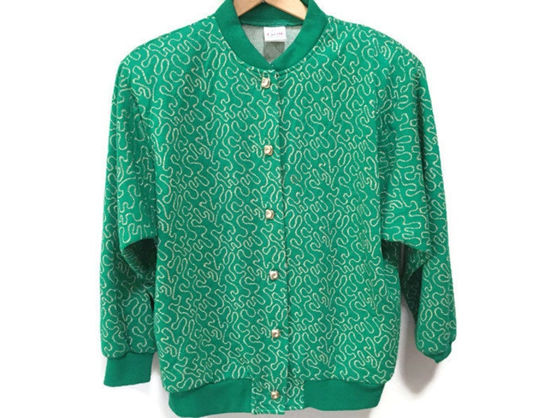 Retro Green Cardigan Vintage Sweater Jacket Kelly Green Gold image 0