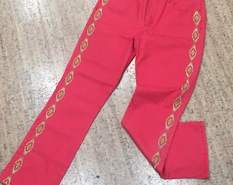 Red Embroidered Jeans, 90s Vintage Red Jeans Gold Embroidered Pants Coral Red Denim Pants Straight Leg Vintage Jeans Red Pants Gold 1990s 12