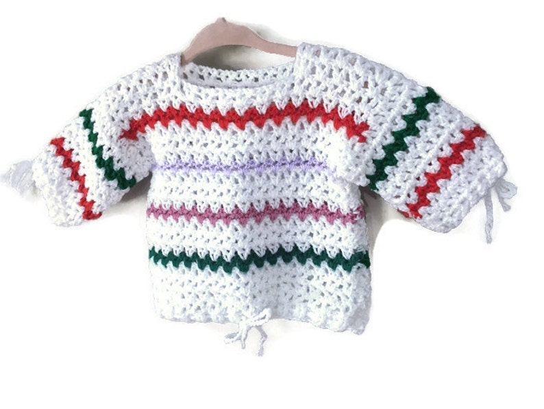 Vintage Baby Sweater Handmade Vintage Knitted Baby Knit image 0