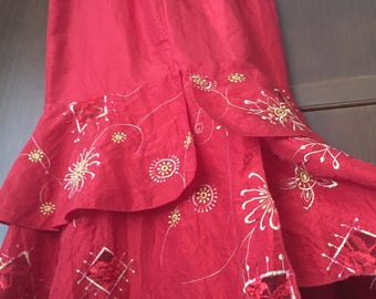 Long Vintage Skirt, XL Red Maxi Skirt Vintage Red Skirt Red Vintage Skirt Long Skirt embroidered Bohemian Skirt Christmas Skirt 32 12 L XXL
