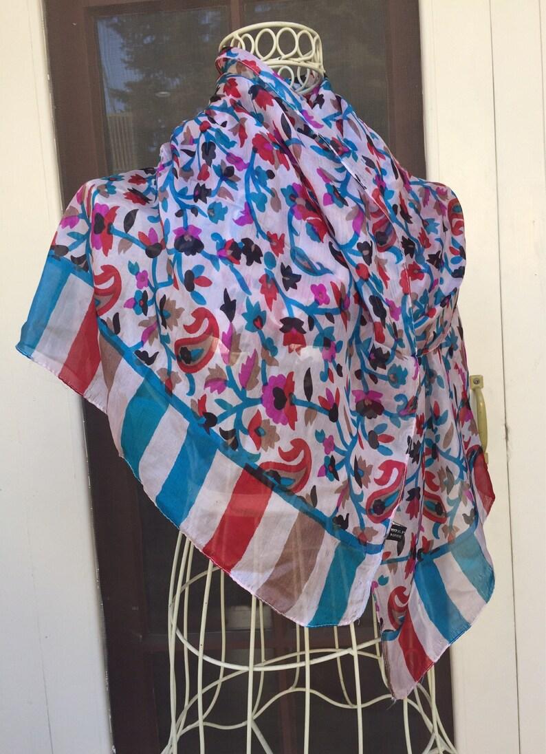 India Silk Scarf long Vintage scarf floral silk vintage image 0