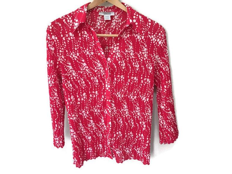 Red Vintage Blouse Crinkle Texture Blouse Red Blouse Wide image 0