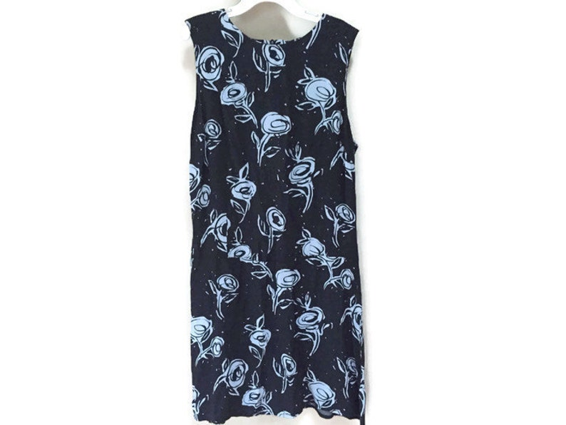 Blue Mini Dress Sleeveless 90s Floral Dress Vintage 90s image 0