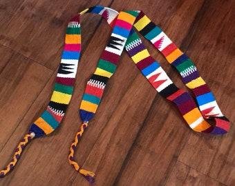 Colorful Tying Belt, 90s Ethnic Boho Belt, Guatemalan Belt vintage 90s bohemian Woven Belt, Hippie Belt festival wear native beach summer S