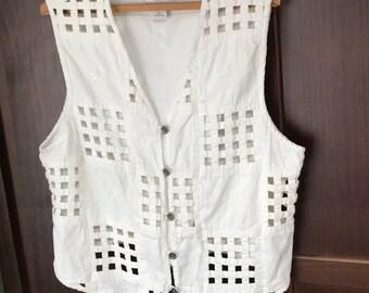 White Denim Vest, Vintage White Vest White Embroidered Vest Lattice Cut Outs White Vintage Vest L Cotton vest spring vintage van hausen vest