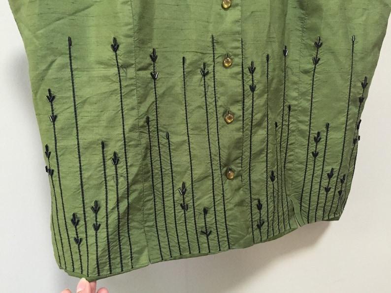 89b81f0b796bb Raw Silk Blouse Beaded Sleeveless Blouse Green Silk Blouse
