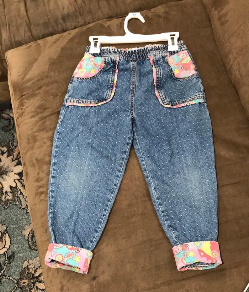 80s Kids Jeans Girls Vintage Jeans Polka Dot Denim Funky image 0