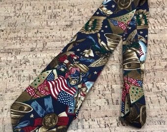 Patriotic Vintage Tie, American Flags Necktie, July 4th USA Vintage Americana Liberty Bell Revolutionary War Nautical Anchor Red White Blue