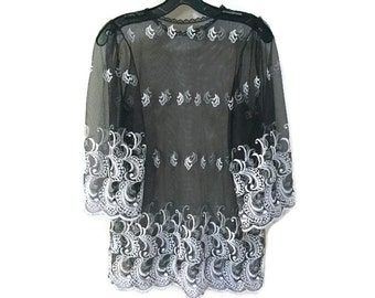 Sheer Embroidered Tunic, Black & White embroidered blouse, sheer bohemian blouse, delicate vintage tunic blouse, lace trim see through tunic