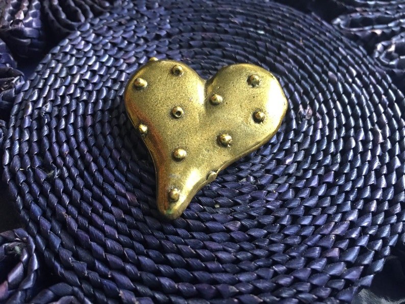 Brass Heart Pin Vintage 80s Jewelry Polka Dot Heart image 0