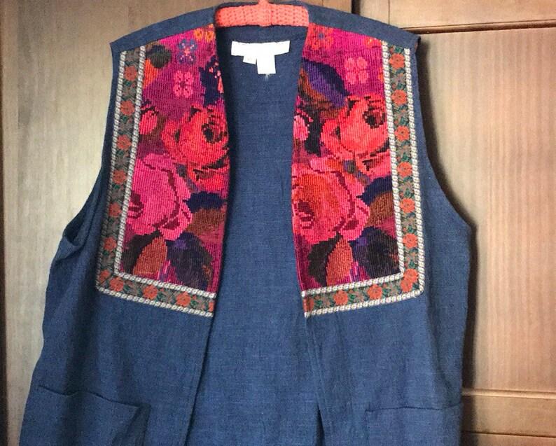 Vintage Tunic Vest 1960s Boho Tapestry Vest Embroidered Denim image 0