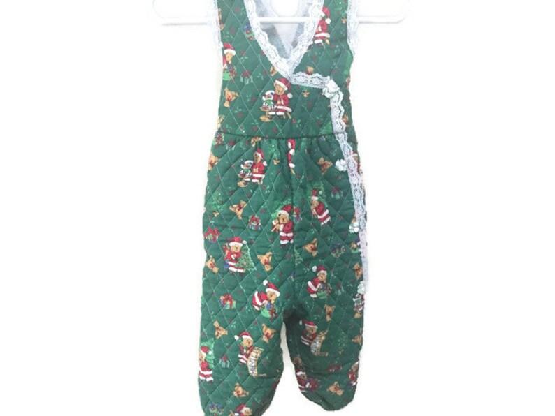 44300ef1f Mameluco de Navidad vintage verde acolchado Vintage mono mono