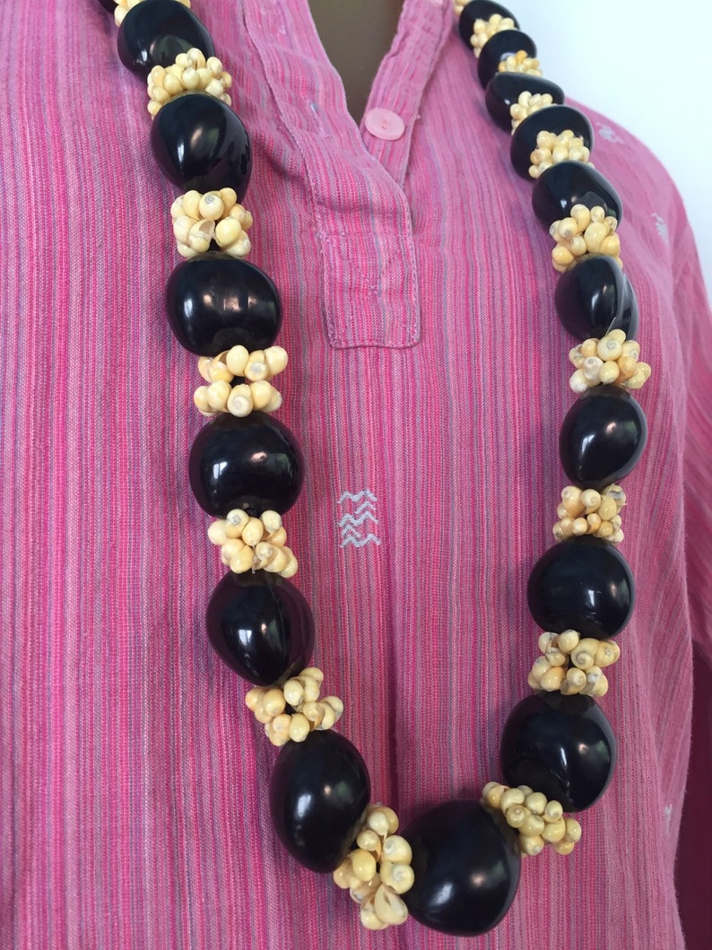 1960s Beaded Necklace Vintage Hippie Necklace Shell Beads image 0
