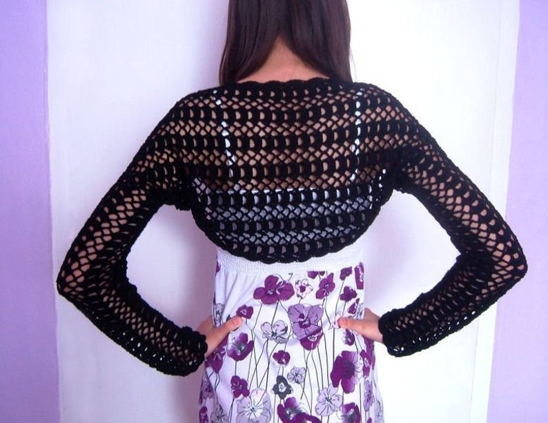Black lace crocheted shrug bolero