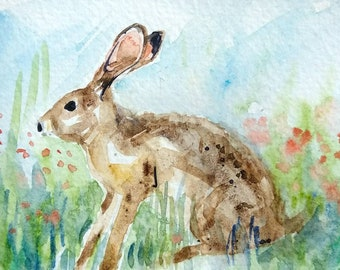 Leaping Rabbit original watercolor painting