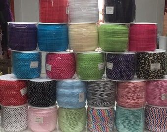 "FOE Closeout 1/2 Price SALE  -5/8"" Fold Over Elastic 50 yard roll..... choose your color"
