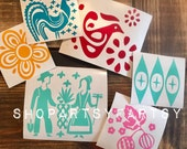 Pyrex inspired Butterprint, Gooseberry, Friendship, Butterfly Gold, Blue Eyes Decals perfect for car windows, wine glasses, coffee mugs etc