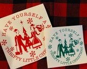 Have yourself a thrifty little Christmas Vintage Pyrex inspired art decal