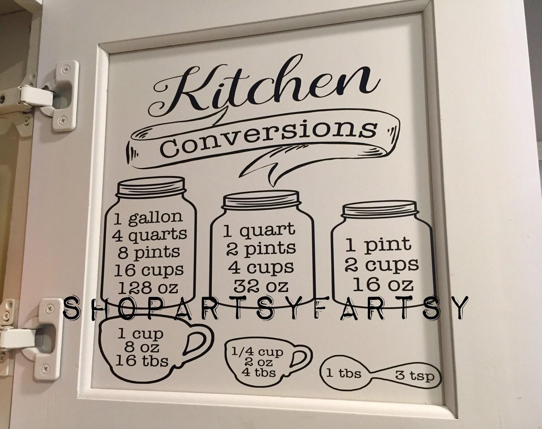 Küche-Umwandlung-Diagramm-Aufkleber für Ihre Küche für | Etsy