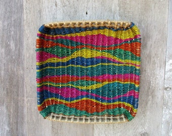 Jewel Tones Basket Tapestry Wall Basket OOAK by Marcia Whitt --Free Shipping