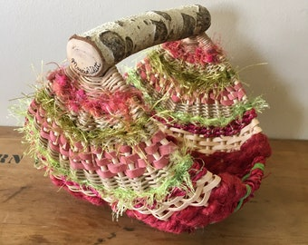 Birch Handle Basket in Colors of Summer FREE SHIPPING
