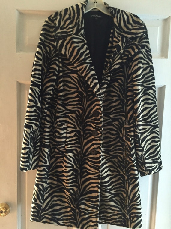 Betsey Johnson Zebra Striped Coat, Tiger Striped,