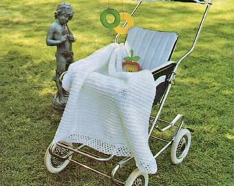 Baby Crochet Pattern, Crochet Baby Blanket Pattern, Baby Coverlet or Carriage Cover Crochet Pattern, INSTANT Download  Pattern in PDF (1348)