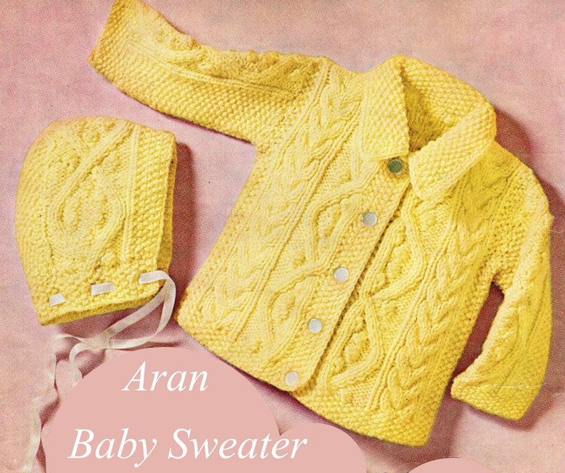 edd2c4a103ee Baby Knitting Pattern Aran Baby Sweater Knitting Pattern with