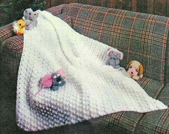 Baby Blanket Crochet Pattern, Popcorn Stitch Baby Christening Blanket Crochet Pattern, INSTANT Download Pattern PDF (1345)