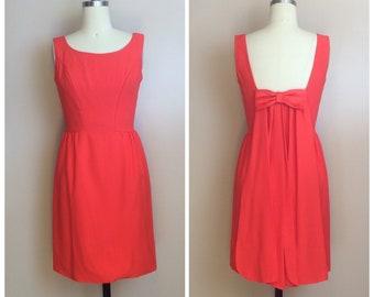 04d5d276408b 1960s Vintage Orange Crepe Bow Back Mini Dress / 60s / Sixties Cape  Sleeveless Mod Party Dress / Size Small