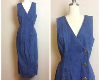 63d61a1c5f 1990s Vintage Cotton Denim Wrap Dress   90s   Nineties Side Button Jean Mid  Length Summer Dress   Size Large