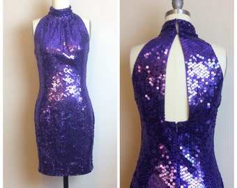 e6bfc0fec8b1a 1980s Vintage Niteline by Della Roufogali Wet Look Sequin Dress / 80s  Purple Metallic Cut Out Back Mini Dress / Party / Size Small