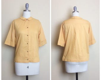 50s Mustard Yellow Glenbrooke Penn Prest Blouse / 1950s / Fifties / Vintage / Classic Cotton Short Sleeve Button Up Top / Medium / Large