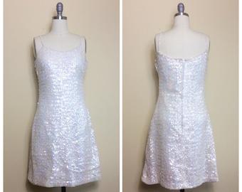 60s Vera Monte Paris Cream Sequin Party Dress / 1960s / Sixties / Vintage Bombshell VLV Wiggle Dress / Medium