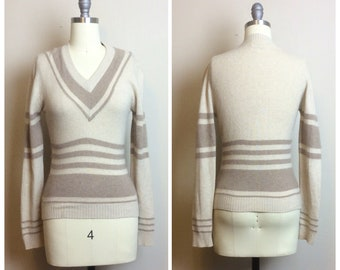 0bf571c5d10 1960s Vintage Nude Sport Whirl Cashmere Sweater   60s   Sixties Bombshell  Striped Pullover   Size Small   Medium